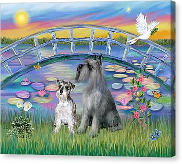Lily Bridge With Twoo Schnauzers Canvas Print by Jean B Fitzgerald