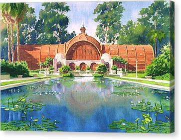 Lily Pond And Botanical Garden Canvas Print by Mary Helmreich