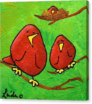 Limb Birds - Red Overhead Canvas Print by Linda Eversole
