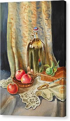 Lime And Apples Still Life Canvas Print by Irina Sztukowski