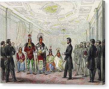 Lincoln And American Indian Chiefs, 1863 Canvas Print by British Library