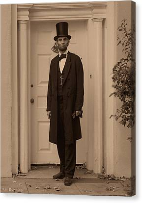 Lincoln Leaving A Building Canvas Print by Ray Downing