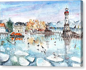 Lindau Harbour In Winter Canvas Print by Miki De Goodaboom