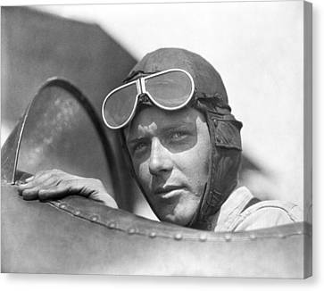 Lindbergh In Cockpit Canvas Print by Underwood Archives