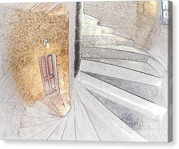 Line Conversion Of A Spiral Staircase Canvas Print by Gregory G. Dimijian, M.D.