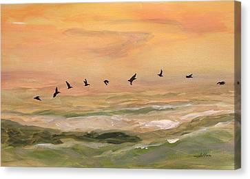 Line Of Pelicans Canvas Print by Julianne Felton