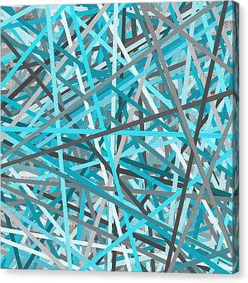 Link - Turquoise And Gray Abstract Canvas Print by Lourry Legarde