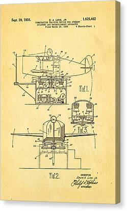Link Flight Simulator Patent Art 2 1931 Canvas Print by Ian Monk