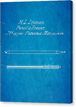 Linman Pencil And Eraser Patent Art 1858 Blueprint Canvas Print by Ian Monk