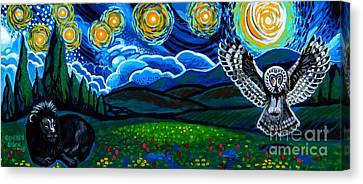 Lion And Owl On A Starry Night Canvas Print by Genevieve Esson