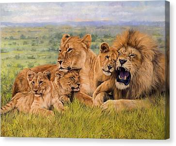 Lion Family Canvas Print by David Stribbling