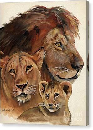 Lion Family Portrait Canvas Print by Suzanne Schaefer