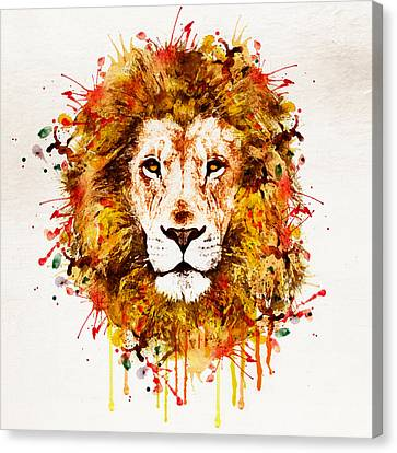 Lion Head Watercolor Canvas Print by Marian Voicu