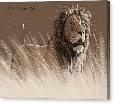 Lion In The Grass Canvas Print by Aaron Blaise