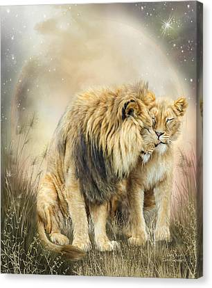 Lion Kiss Canvas Print by Carol Cavalaris
