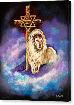 Lion Of Judah Original Painting Forsale Canvas Print by Nadine Johnston