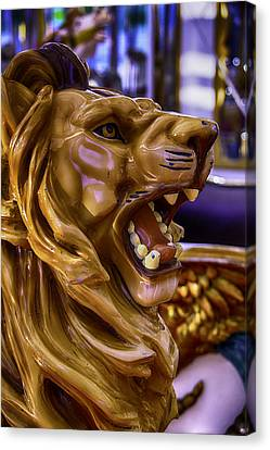 Lion Roaring Carrousel Ride Canvas Print by Garry Gay
