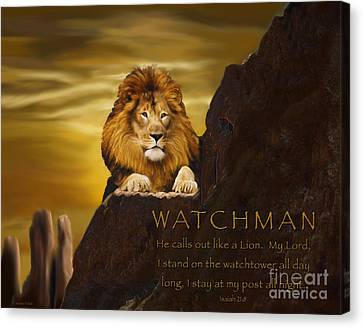 Lion Watchman Canvas Print by Constance Woods