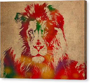 Lion Watercolor Portrait On Old Canvas Canvas Print by Design Turnpike