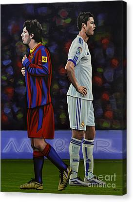 Lionel Messi And Cristiano Ronaldo Canvas Print by Paul Meijering