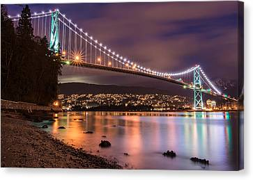 Lions Gate Bridge At Night Canvas Print by James Wheeler