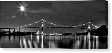 Lions Gate Bridge Black And White Canvas Print by Naman Imagery