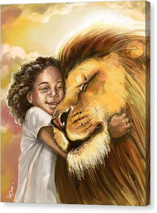 Lion's Kiss Canvas Print by Tamer and Cindy Elsharouni