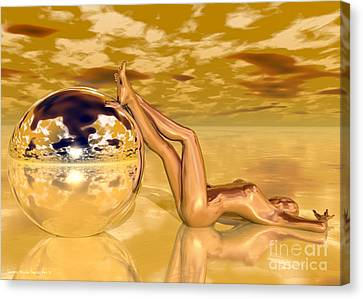 Liquid Gold Canvas Print by Sandra Bauser Digital Art
