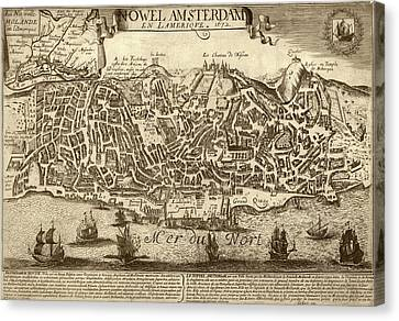 Lisbon As New Amsterdam Canvas Print by Library Of Congress, Geography And Map Division