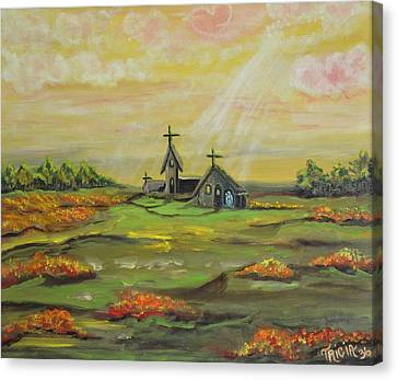 Little Abbey In The Meadow Canvas Print by Tricia Concienne