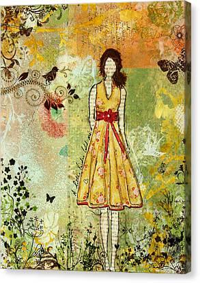 Little Birdie Inspirational Mixed Media Folk Art By Janelle Nichol Canvas Print by Janelle Nichol