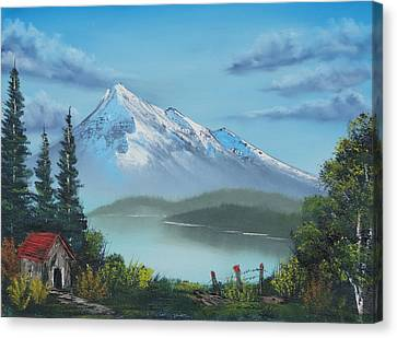 Little Cabin At The Lake Canvas Print by Bob Williams