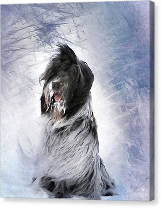Little Doggie In A Snowstorm Canvas Print by Gun Legler