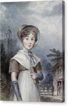 Little Girl In A Quaker Costume Canvas Print by Isaac Pocock