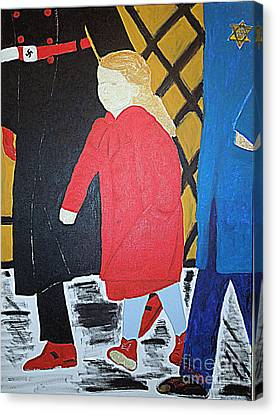 Little Jewish Girl In The Red Coat Canvas Print by Richard W Linford