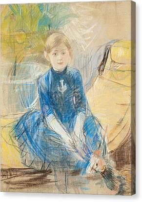 Little Girl With A Blue Jersey, 1886 Pastel On Canvas Canvas Print by Berthe Morisot