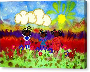 Little Girlfriends Canvas Print by Angela L Walker