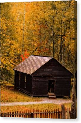 Little Greenbrier Schoolhouse In Autumn  Canvas Print by Dan Sproul