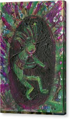 Little Kokopelli Green Canvas Print by Anne-Elizabeth Whiteway