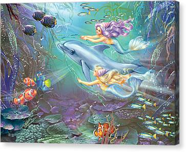 Little Mermaids And Dolphin Canvas Print by Zorina Baldescu