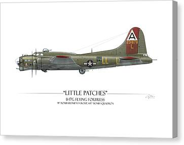 Little Patches B-17 Flying Fortress - White Background Canvas Print by Craig Tinder