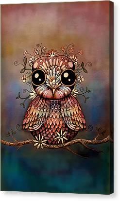 Little Rainbow Flower Owl Canvas Print by Karin Taylor