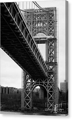 Little Red Lighthouse Beneath The George Washington Bridge Hudson River New York Nyc Canvas Print by Joe Fox