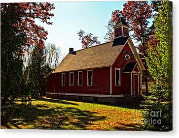 Little Red School House Canvas Print by Ms Judi