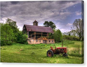Little Red Tractor Canvas Print by David Simons