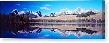 Little Redfish Lake Mountains Id Usa Canvas Print by Panoramic Images