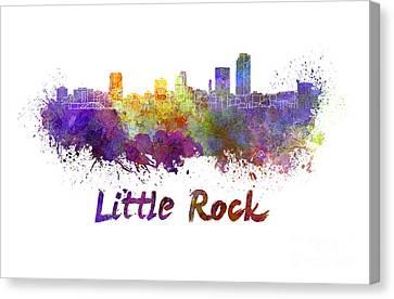 Little Rock Skyline In Watercolor Canvas Print by Pablo Romero