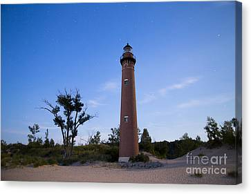 Little Sable Lighthouse By Moonlight Canvas Print by Twenty Two North Photography
