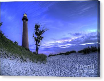 Little Sable Lighthouse In Evening Canvas Print by Twenty Two North Photography