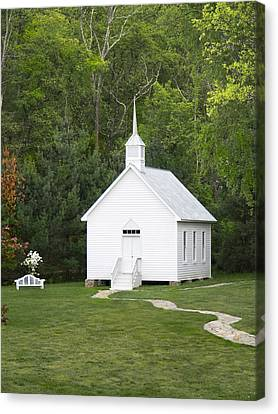 Little White Church Canvas Print by Mike McGlothlen